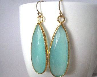 Aqua Mint Chalcedony Gold Earring, Long Aqua Mint Chalcedony Earring,