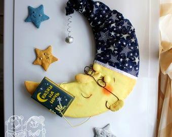 Crescent moon - magnet, Stars, Refrigerator magnet, Crescent moon, Moon and stars decor, Month night, Bedtime story, Cute Decoration.