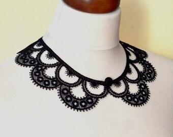 Black Peter Pan Collar, Black Detachable Collar and  button, Cotton, Lace Collar, Lace Necklace, Detachable Collar Necklace, gift for her