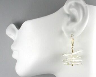 White Biwa Pearls Earrings Twirly