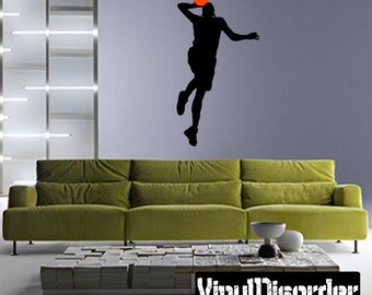 Basketball Vinyl Wall Decal or Car Sticker -  basketball2colorba005ET