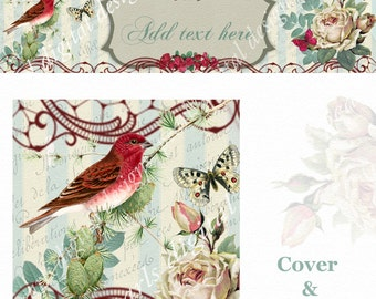 Red Bird Cover and Shop Icon, instant download, blank, use for anytime by changing text, red bird, roses, vintage theme