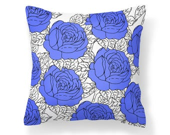 Blue Roses Pillow Cover - Flower Pillow Cover - Roses Pillow - 18x18 inch pillow - 20x20 inch pillow - Decorative Pillow Cover