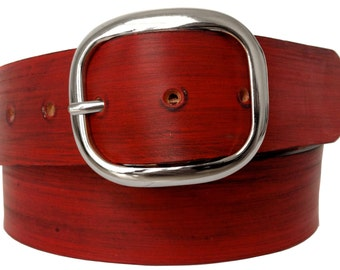 Red Distressed Leather Belt Strap - Full Grain Leather