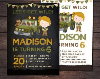 Safari Invitation, Safari Girl Invitation, Jungle Birthday Invitation, Adventure Birthday Party, Zoo Birthday Invitation, DIGITAL, 2 Options