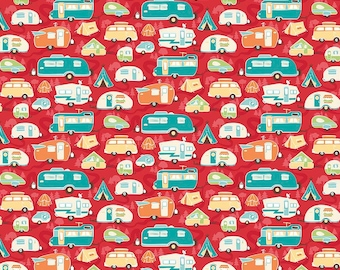 Road Trip Trailer Red - Riley Blake Designs - Camper Tents Camping Vacation - Quilting Cotton Fabric - fat quarter