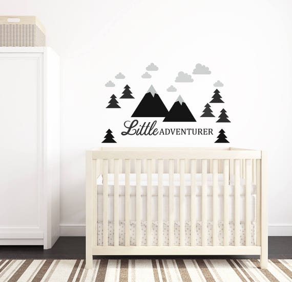 Mountains Wall Decal Nursery Crib Decor Self Adhesive Sticker Kids Toddler Baby Room Decal Little Adventurer Woodland Tree #mountains018