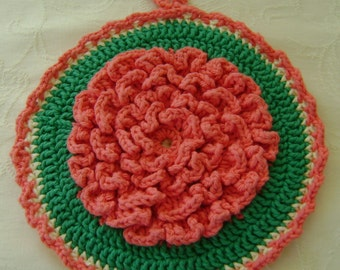 Hot Mat, Hand Crocheted, Coral Dahlia, 100% Cotton Double Thickness