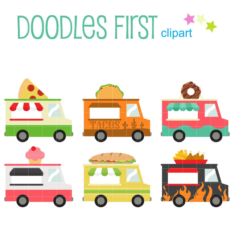 Food Trucks Digital Clip Art For Scrapbooking Card Making