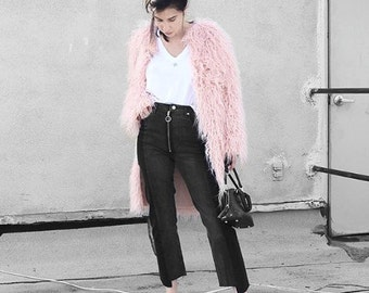 MOMMY MATCHING Pink Faux Fur Shag Coat