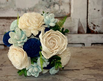 Sola flower bouquet, brides wedding bouquet, navy blue wedding flowers, eco flower bouquet, blue eco flowers, navy blue sola wood flowers