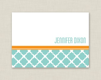 Quatrefoil Personalized Stationery Set / Personalized Stationary Set / Patterned Note Cards