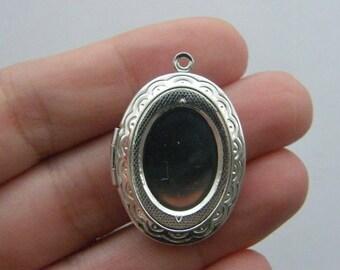 BULK 5 Locket pendants 34 x 24mm silver plated FS239