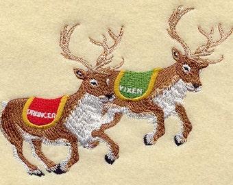 Santas Flight - PRANCER & VIXEN- Machine Embroidered Quilt Blocks (AzEB)
