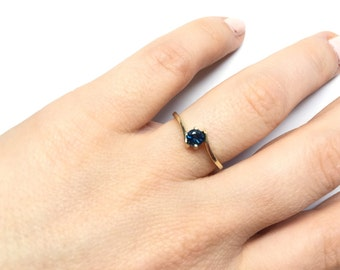 Sapphire Engagement Ring-Sapphire solitaire ring- Solitaire ring-Yellow Gold Ring-Women Jewelry-Sapphire promise ring -Sapphire  gift