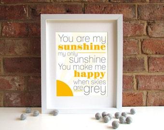 You Are My Sunshine, My Only Sunshine - 8x10 inch Lyrics Print