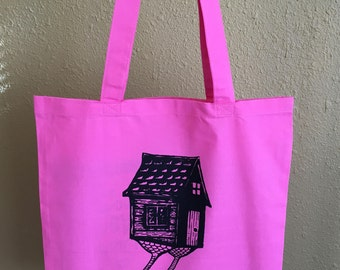 Screen Printed Baba Yaga Hut Pink Tote