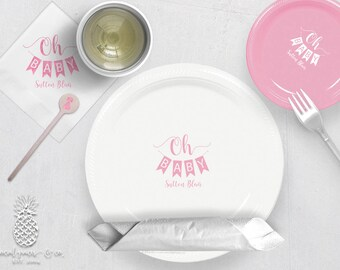 Baby Shower Banner | Customizable Plates, Napkins, Cups or Stir Stick | social graces Co