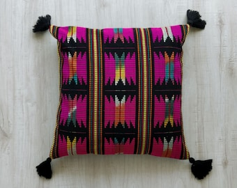 Decorative Pillow Cover, Cotton Jacquard, Pink Pillow, Black, Accent Pillow Cover, Aztec, pillows with tassels, choose size - 1 pc - wvn4