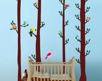 Birds wall decals trees wall decals Woodland wall decals forest wall decal for Nursery kids wall decal kcik1749