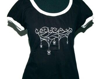 Gothic shirt - Spider Web - size L - black and white