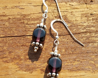 Deep Purple Czech Glass with Antiqued Sterling Silver
