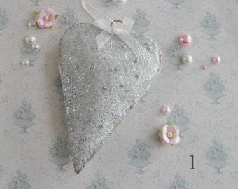 Glittered Heart Hangers, Bedroom Decor, Sparkly Gifts for Her, Bling, Choice of 3