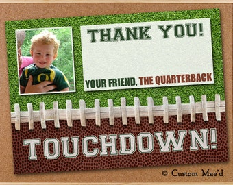 Football THANK YOU Card, Football Photo Thank You Cards, Football Party Thank You Cards,Professionally Printed or DIY Printable,Personalized
