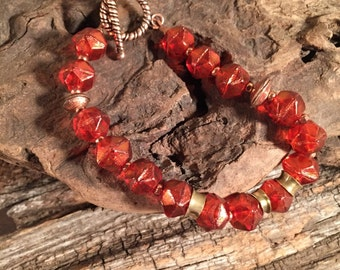 Orange Metallic Glass Bead Bracelet