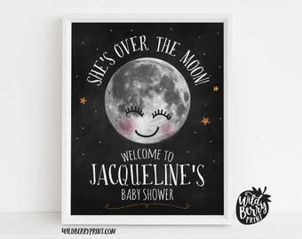 Over the Moon Starry Night Baby Shower Printable 8x10 Sign