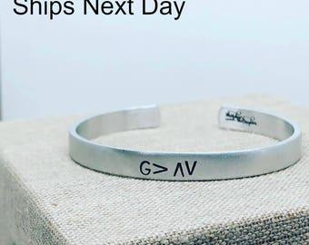 God is Greater Than the Highs and Lows Cuff Bracelet - Gift For Her - Inspirational Bracelet - Graduate Gift - Religious Bracelet - G>AV