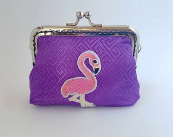 Coin Purse, purple, flamingo