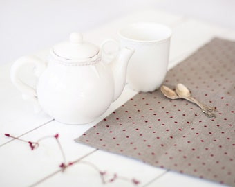 Polka dot runner - Linen table runner - Dotted linen runner - Polka dot table top - Linen table top - Housewarming gift - Wedding gift