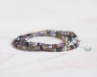Tourmaline Multi Wrap Bracelet, Multi Color Gemstone Triple Wrap, Delicate Beaded Tourmaline Necklace, Sterling Silver or Rose Gold Fill