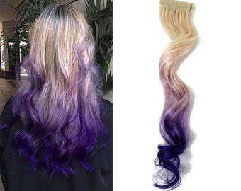 """READY TO SHIP 12"""" Tape in Human Hair Extensions 613 Blonde Highlights Remy Purple Ombre Balayage"""