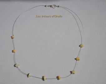 Yellow jade chips necklace