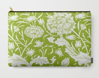 Floral Clutch, Green Cosmetic Bag, Travel Case, Flower Carry All, Green Bridesmaid Bag, Chartreuse Coin Purse, Green Leaves Makeup Bag