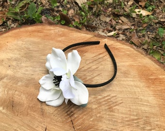 Black and white anemone child's headband, kids flower crown, children's party headband, girl's headband