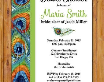 Peacock Feathers Bridal Shower Invite Colorful Feather Woman's Birthday Invitation DIY Printable 5x7 Digital JPG File (413)