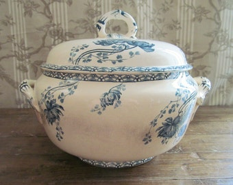 Antique French Terre de Fer Blue and White Tureen - Sarreguemines Royat Pattern - Terre de Fer - French Table - French Ironstone Tureen