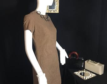 60's Mod Mini Sheath Dress by Jeri-Ann of Atlanta. Rare find. Size S. Retro Brown