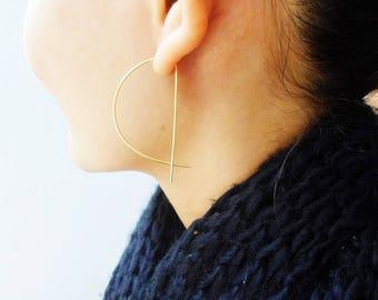 Dainty Half Moon Earrings / Hoop / Better Half Earrings / Moon Earrings / Geometric Earrings / Gold / Silver / Sterling Silver / Gold c1