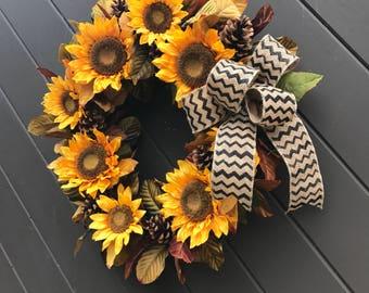 Sunflower Wreath, FALL Floral Wreath, Front Door Wreaths, Thanksgiving Decor, Rustic Autumn Wreath, Sunflower Bouquet, Artificial Wreath
