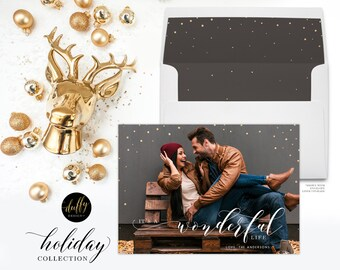 Christmas Photo Card, Holiday Photo Card, Photo Christmas Card, Rustic Holiday Card, Christmas Card 5x7 Holiday Card- It's A Wonderful Life