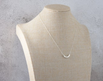Sterling Silver Nuggets Necklace, Fine Delicate Chain, Dainty, Modern Minimalist Necklace