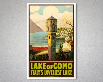 Lake of Como Italy's Loveliest Lake Travel Poster - Poster Print, Sticker or Canvas Print / Gift Idea