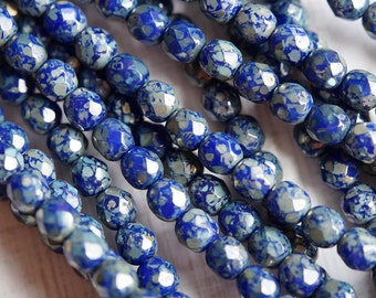 6mm Opaque blue with Silver Luster Picasso Finish Round Faceted Beads - Bead Soup Beads - 6mm Blue Fire Polished
