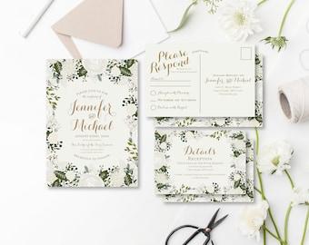 Vintage Wedding Invitation RSVP Postcard Info Card Set Fall Wedding Vintage Floral Floral Wedding Vintage Wedding Wedding Set #CL120