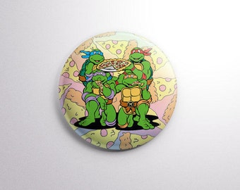 "TMNT | Pizza Dudes | 1"" One Inch Magnet OR pinback button badge pin 