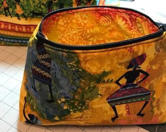Africana Print Cosmetic Bag